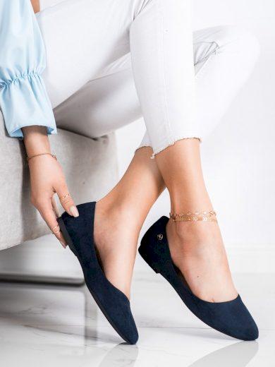 Praktické dámské  baleríny modré bez podpatku