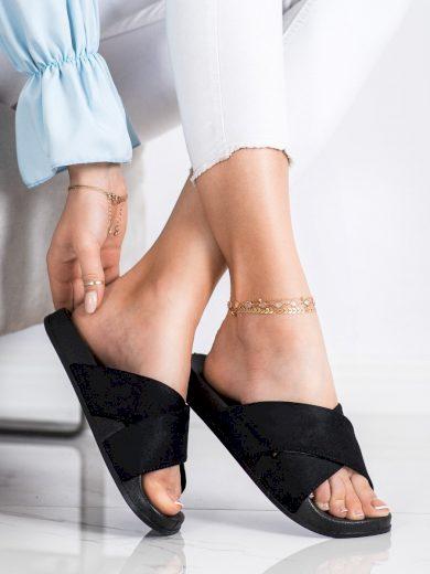Jedinečné černé dámské  nazouváky bez podpatku