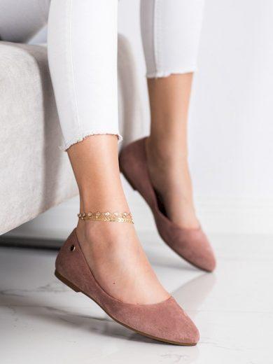 Trendy růžové dámské  baleríny bez podpatku