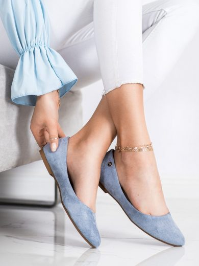Zajímavé  baleríny dámské modré bez podpatku