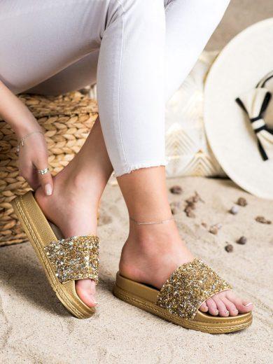 Designové dámské zlaté  nazouváky bez podpatku
