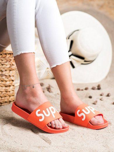 Módní oranžové  nazouváky dámské bez podpatku