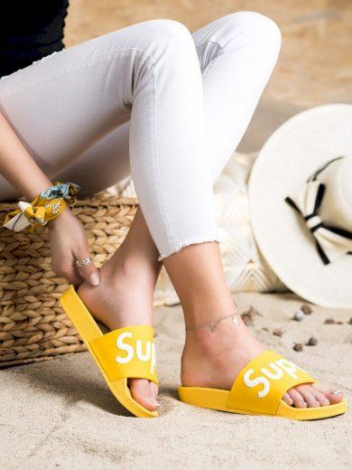 Módní zlaté  nazouváky dámské bez podpatku