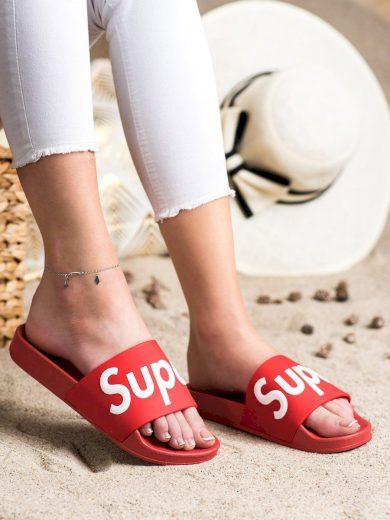Designové  nazouváky červené dámské bez podpatku