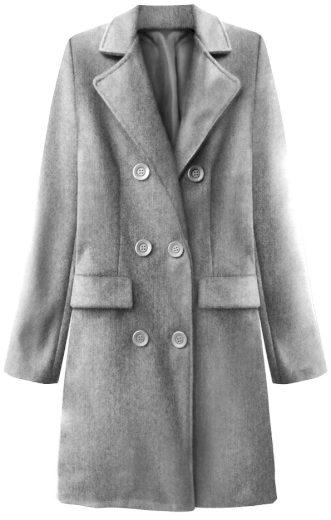 Světle šedý dvouřadový kabát s knoflíky (22791)