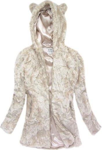 Světle béžová bunda imitující kožich (7620)