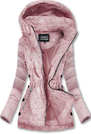 Prošívaná bunda v pudrově růžové barvě s kapucí (W716-20)