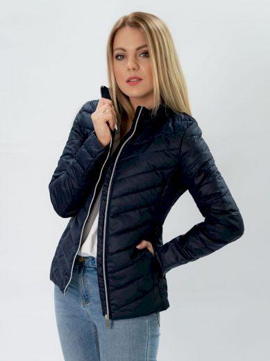 Tmavě modrá bunda se skrytou kapucí (W80)