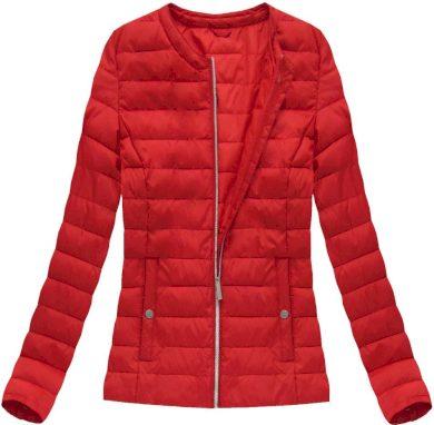 Červená prošívaná bunda s kulatým výstřihem (W73)