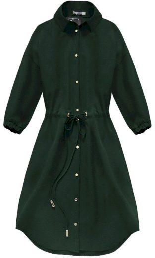 Tmavě zelené dámské šaty s kapsami (133ART)