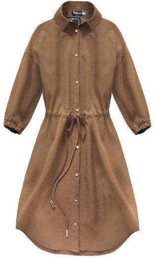 Karamelové dámské šaty s kapsami (133ART)