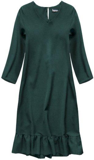 Tmavězelené šaty s volánem (134ART)