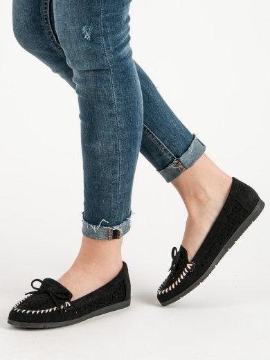 Jedinečné černé  mokasíny dámské bez podpatku