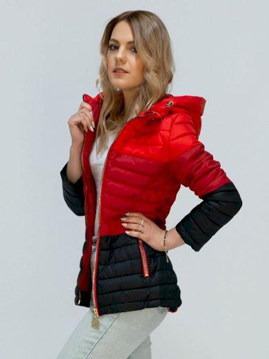 Červená prošívaná bunda s kapucí (W618)