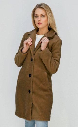 Jednoduchý hnědý kabát s knoflíky (23086)