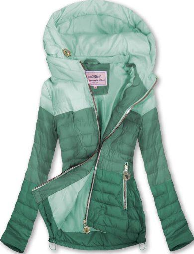 Prošívaná bunda v akvamarínové mořské barvě s kapucí (W618)