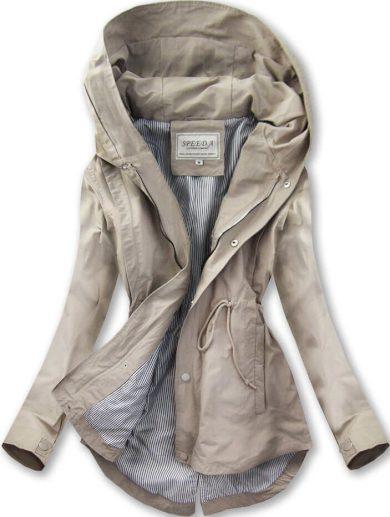 Béžová bunda parka s kapucí (W726)