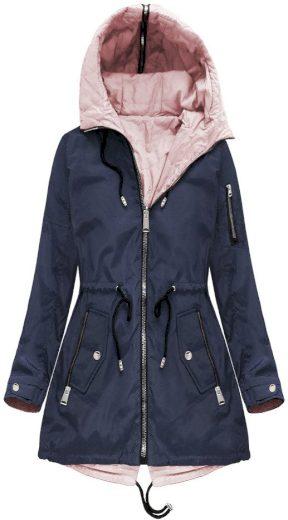 Tmavě modrá oboustranná bunda s kapucí (W638)
