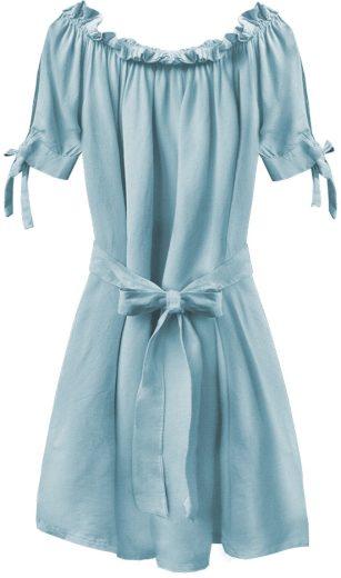 Světle modrá dámská tunika ve španělském stylu s páskem (279ART)
