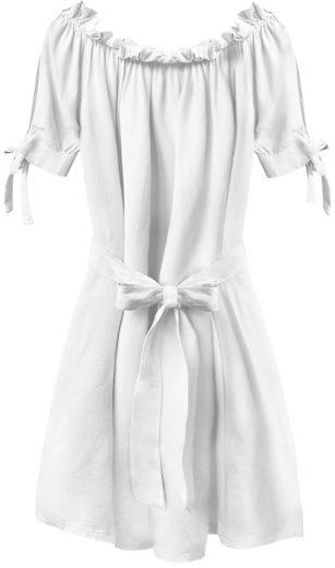 Bílá dámská tunika ve španělské stylu s páskem (279ART)