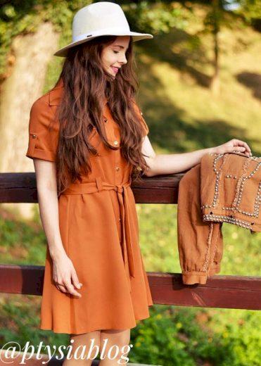Rudé dámské šaty s knoflíky a páskem (292ART)