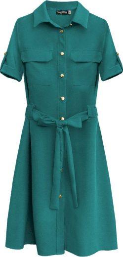 Dámské šaty v mořské akvamarínové barvě s knoflíky a páskem (292ART)