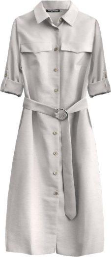 Světle béžové dámské midi šaty s knoflíky a páskem (293ART)