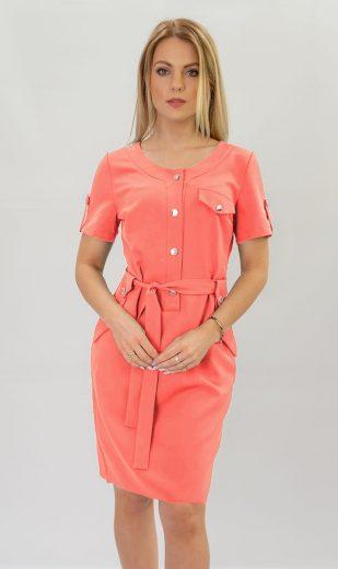 Tužkové šaty v neonově korálové barvě (309ART)