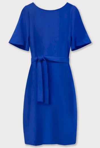 Tužkové šaty v chrpové barvě s páskem (313ART)