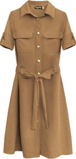 Dámské šaty v karamelové barvě s knoflíky a páskem (292ART)