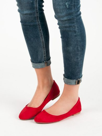 Zajímavé  baleríny červené dámské bez podpatku