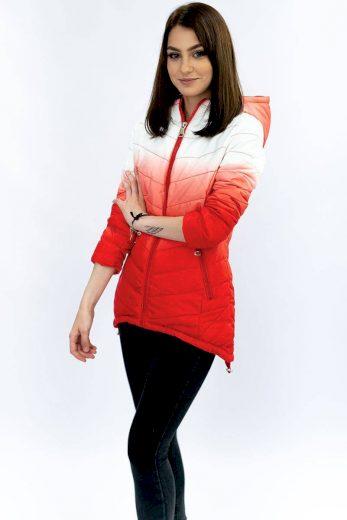 Bílo-červená prošívaná bunda ombre (W535)