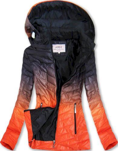 Černo-oranžová bunda ombre s kapucí (W615)