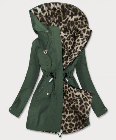 Khaki-panteří oboustranná dámská bunda parka s kapucí (W354)