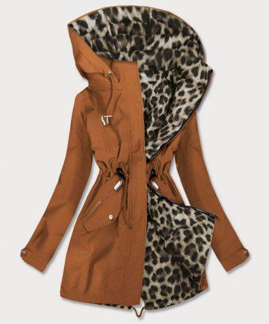 Oboustranná dámská bunda parka v karamelové barvě s kapucí (W354BIG)