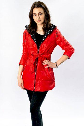 Červená a puntíkovaná oboustranná dámská bunda s kapucí (W352)