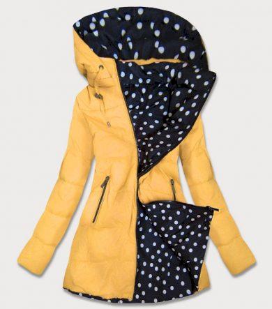 Žlutá a puntíkovaná oboustranná dámská bunda s kapucí (W352)