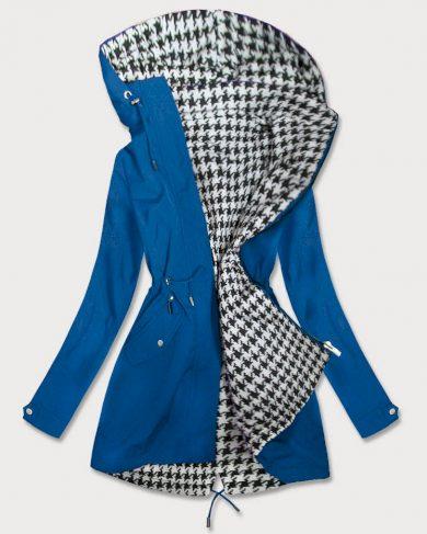 Světle modrá a pepitová oboustranná dámská bunda parka (W353-1)