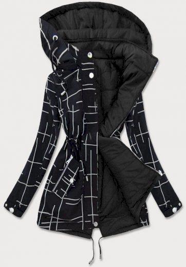 Černo-bílá dámská oboustranná bunda (W656BIG)