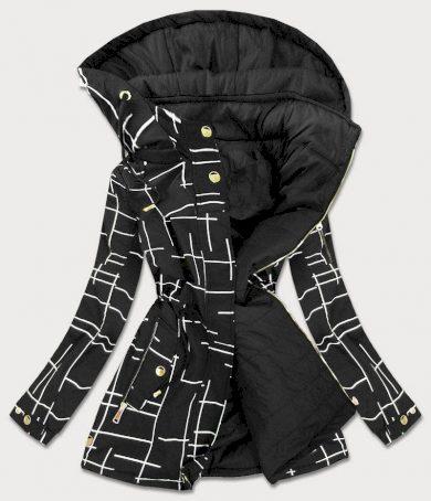 Černo-bílá oboustranná dámská bunda parka (W657)