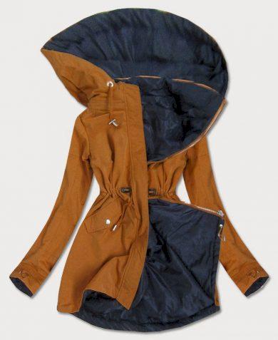 Oboustranná dámská bunda parka v karamelovo-tmavě modré barvě s kapucí (W09BIG)