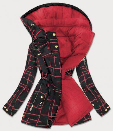 Černo-červená oboustranná dámská bunda parka (W657)