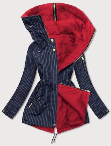 Oboustranná pruhovaná tmavě modro-červená bunda s kapucí (W659BIG)
