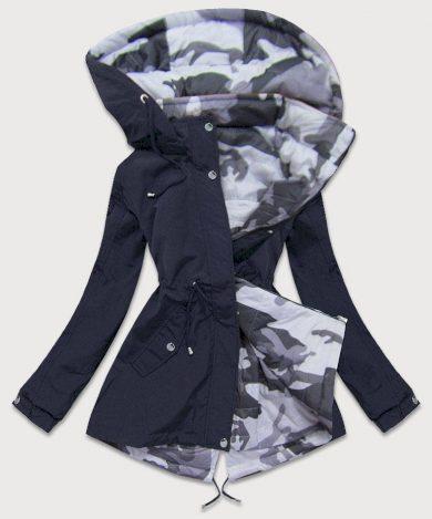 Oboustranná tmavě modrá-moro dámská bunda parka s kapucí (XW665X)