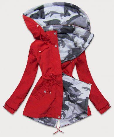 Oboustranná červená-moro dámská bunda parka s kapucí (XW665X)