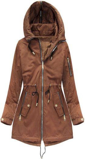 Oboustranná bunda v karamelové barvě s kapucí (W636BIG)