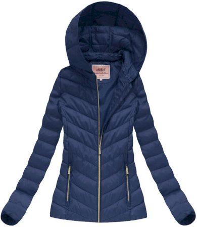 Tmavě modrá dámská bunda s odepínací kapucí (W70)