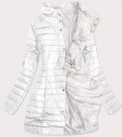 Bílá-puntíkovaná oboustranná dámská bunda (20033)