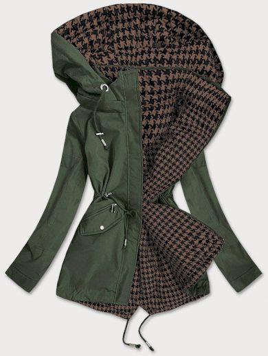 Khaki-hnědá oboustranná dámská bunda (XW503BIGX)