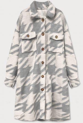 Šedý dámský košilový kabát s pepitovým vzorem (2099)